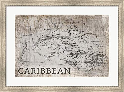 - Carribean Map White by PI Galerie Framed Art Print Wall Picture, Silver Scoop Frame, 35 x 26 inches