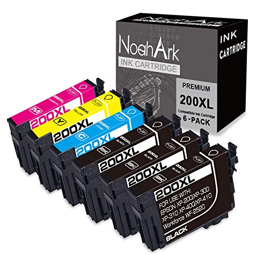 NoahArk Remanufactured Ink Cartridge Replacement for Epson 200 XL 200XL T200XL use for Expression Home XP-200 XP-300 XP-310 XP-400 XP-410 Workforce WF-2520 WF-2530 (3 Black 1 Cyan 1 Magenta 1 Yellow) (Printer Ink Epson Xp400)