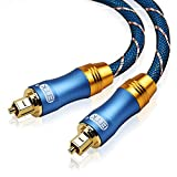 Optical Audio Cable Digital Toslink Cable - [Nylon Braided Jacket,Durable and Flexible] EMK Fiber Optic Cord for Home Theater, Sound bar, TV, PS4, Xbox & More (6Ft/1.8Meters)