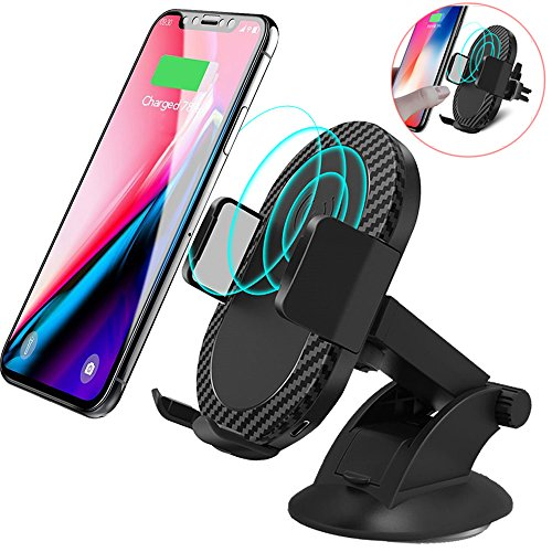Wireless Car Charger, Keklle 2 in 1 10W Fast Wireless Charger Air Vent & Bracket Phone Holder for iPhoneX/8/8 Plus, Samsung Galaxy S9/S9+/Note 8/S8/S8 Plus/S7/S6 Edge (Black, 10W-Fast Charger) by Keklle