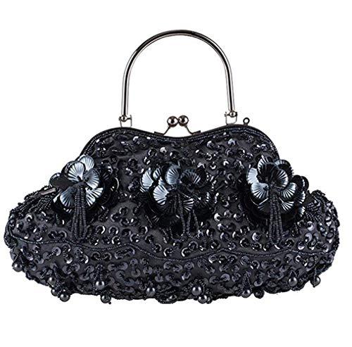 Dimensione Per Da Donna Borse Mano Donne Taglia Perline Con Silver Unica Totalizzatore Delicata Black Ahimitsu Sera Borsa colore A Retrò axwE4qgP7