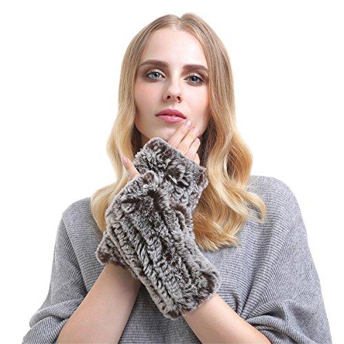 廃棄するカバー暖炉Qhomeレディースタッチスクリーンショート指なしラビットファーニット手袋暖かい伸縮性Woven Wristbands
