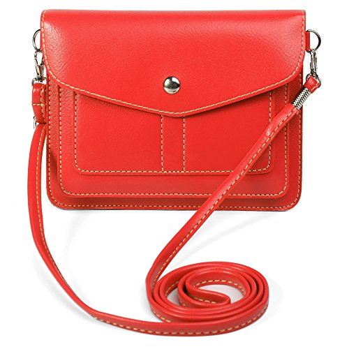 Women's PU Leather Horizontal Crossbody Shoulder Bag Wallet Purse for LG V30+ V30 G6+ G6 / Stylo 3 Plus / Huawei Nova 2 Plus / P10 / P10 Plus / Y7 Prime / Honor 9 / 8 Pro / Enjoy 7 Plus (Red)