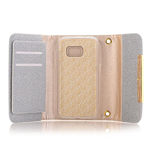 Apple iPhone 6 Case Wallet Cover,MEILIIO Luxury Glitter Powder Bling PU Leather Flip Zipper Wallet Cover Cards Slots Lady Multi Envelope Wristlet HandBag for Apple iPhone 6,iPhone 6S 4.7 inch (Grey) by MeiLiio (Image #8)