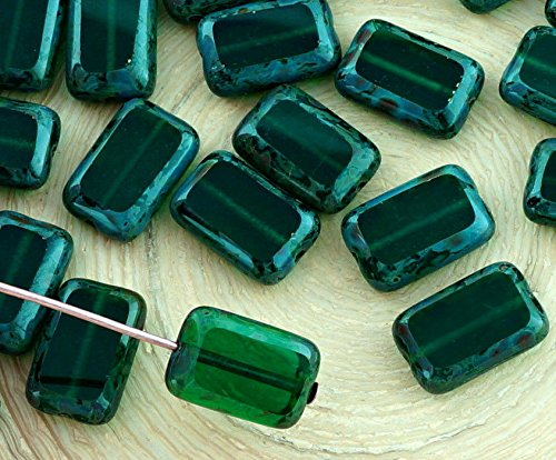 8pcs Picasso Brown Crystal Dark Emerald Green Rustic Table Cut Flat Rectangle Czech Glass Beads 8mm x ()
