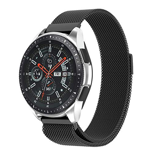 NotoCity 22mm Watch Band for Samsung Gear S3,Samsung Galaxy Watch (46mm),ASUS Zen Watch,Zenwatch 2 1.63'',Pebble time Watch,Moto 360 2nd men-46mm Watch Strap for Mens Womens- 22mm Black by NotoCity