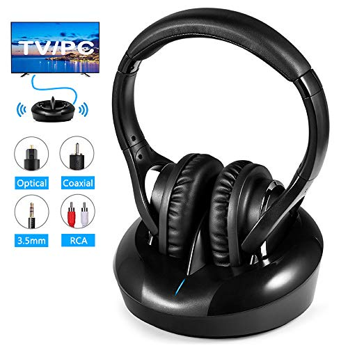 Wireless TV Headphones RF Headphones with Charging Dock HiFi Transmitter 328 Feet Wireless Range Clear Stereo Sound Support Optical Coaxial AUX RCA Audio Output Ideal for Hard of Hearing