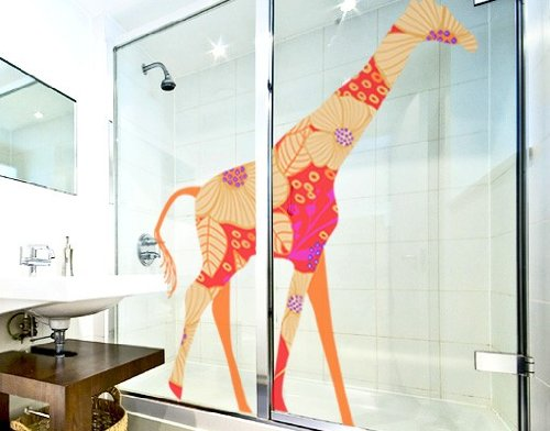 Window Sticker red deco style giraffe window film window tattoo glass sticker window art window décor window decoration window picture Dimensions: 71.7 x 56.7 inches by PPS. Imaging