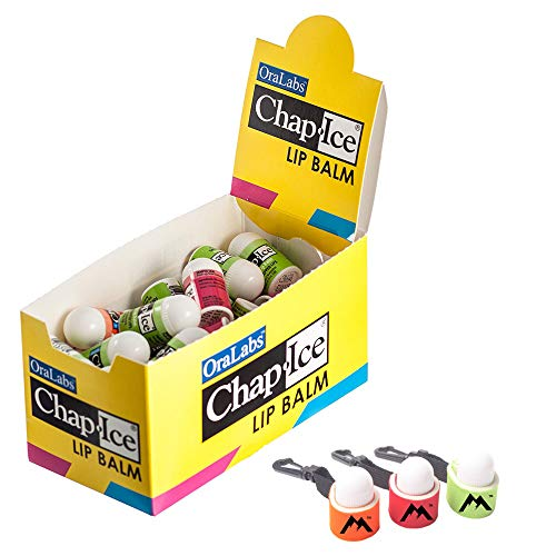 Chap Ice Mini Lip Balm Assorted Flavors 50 Count | Bundle with | Mini Neoprene Sleeve | Lip Balm Holder with Swivel Clip - 3 pack by Mile High Online (4 items)