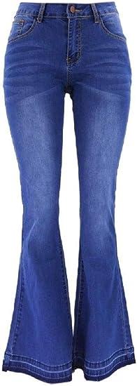 cheelot Women Long Pants Denim Piece Flare Low Rise Body Enhancing Thin Jeans