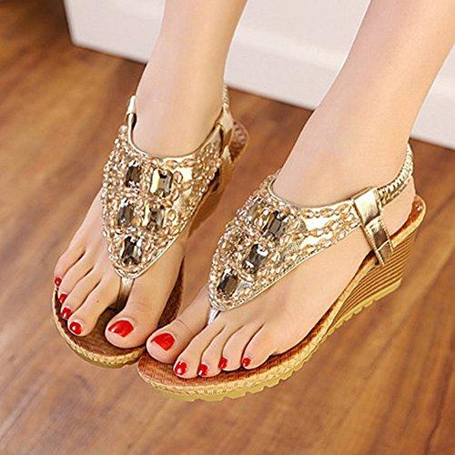Cuña Sandalias Rhinestone Oro Para con Sandalias Sandals Mujer Playa De Guiran Thong Sandalias PHUqnwx