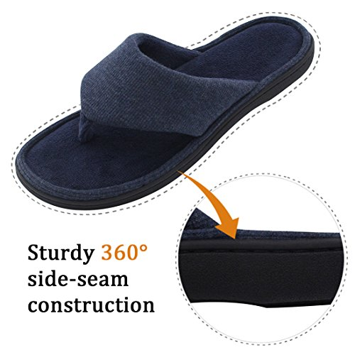 RockDove Memory Foam Mens Flip Flop House Slipper, Open Toe Thong Sandals w/ Indoor Outdoor Sole Ocean Blue