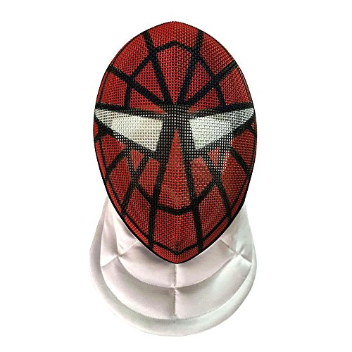 LEONARK Fencing Epee Mask CE 350N Certified National Grade Masque - Fencing Protective Gear (Spider-Man, L)
