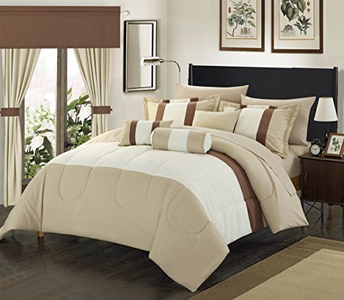 (Perfect Home 20 Piece Standon Complete pieced color block bedding, sheets, window panel collection Queen Bed In a Bag Comforter Set Beige, Sheets Included )