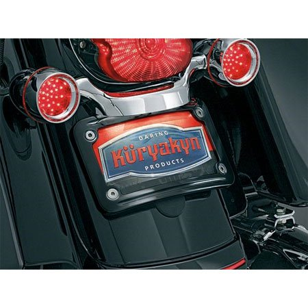 Kuryakyn 3147 Gloss Black Curved License Plate Frame For Harley-Davidson FLHX/FLTRX (Kuryakyn License Plate Curved Frame)