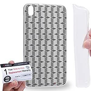 Case88 [HTC Desire 816] Gel TPU Carcasa/Funda & Tarjeta de garantía - Art Fashion Grey Geometric 3D Blocks Art2189