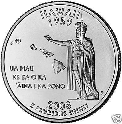 2008-D Hawaii BU State Quarter Coin New (Bu State Quarter Collection)