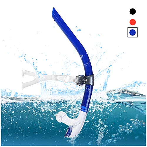 TangyueW Swim Snorkel, One-Way Purge Valve Swimmers Snorkel for Lap Swimming Training Snorkeling, Front Mounted Training Gear with Comfortable Silicone Mouthpiece (Blue) (Best Way To Swim Laps)