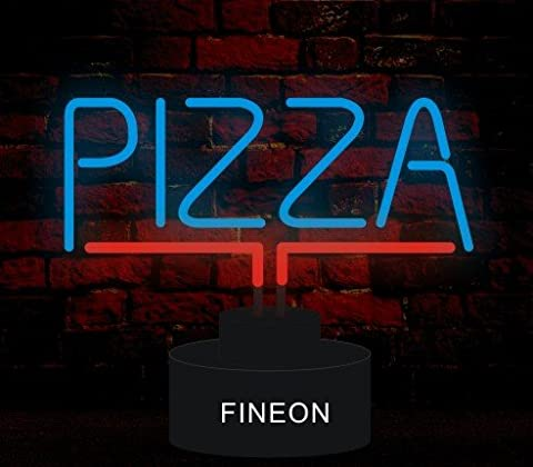 Indoor Glass tube Neon Signs with on/off switch base, A4 Size, Pizza Sculpture - Nails Logo Led Sign