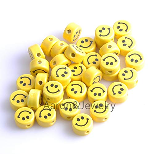Pukido 16x9mm 20pcs Yellow Round Smile Print Ceramic Beads,Loose Beads Fit Jewelry DIY Spacer Beads YKL0308