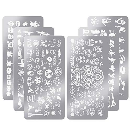 6 Pieces Nail Stamp Plates Nail Art Stamping Templates Snowman Snowflake Pumpkin Bat Pattern Plates for DIY Nail Decoration (Halloween Style)