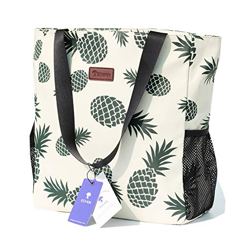Original Floral Water Resistant Large Tote Bag Shoulder Bag for Gym Beach Travel Daily Bags Upgraded ([H] Floral Leaf)