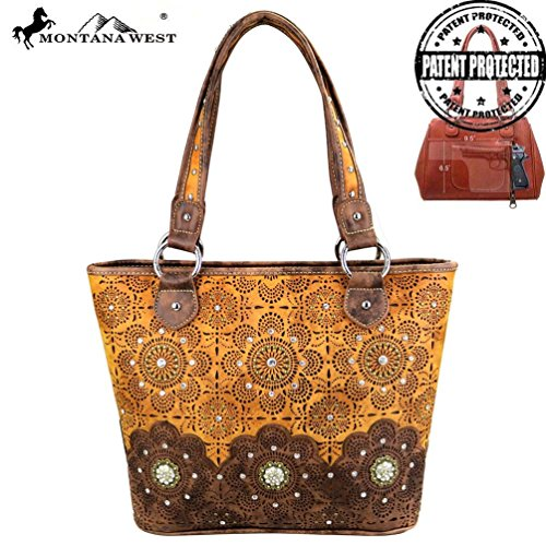 Montana West Beautiful Rhinestones & Concho Collection Concealed Handgun Tote (Brown) - Concho Collection