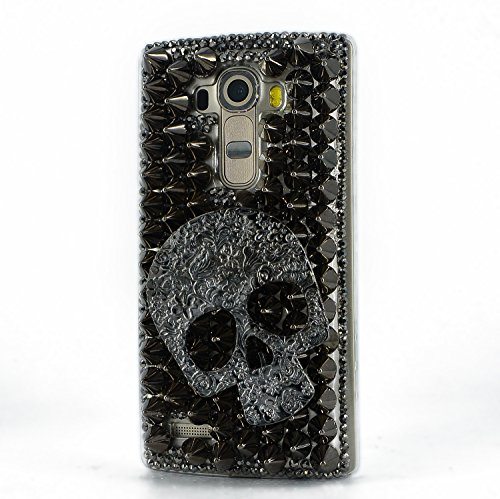 Black Crystal Case Skull (STENES LG Stylo 2 V Case, [Luxurious Series] 3D Handmade Shiny Crystal Sparkle Bling Case with Retro Bowknot Anti Dust Plug - Punk Big Skull/Black)