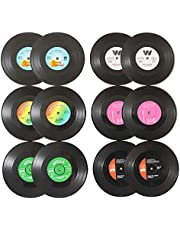 Vinyl Record Coasters for Drinks Novelty (12 Pieces) Funny Absorbent Retro Style Home Decor, Hot Coffee Cup Placement Pads, Effective Protection of The Desktop to Prevent Damage