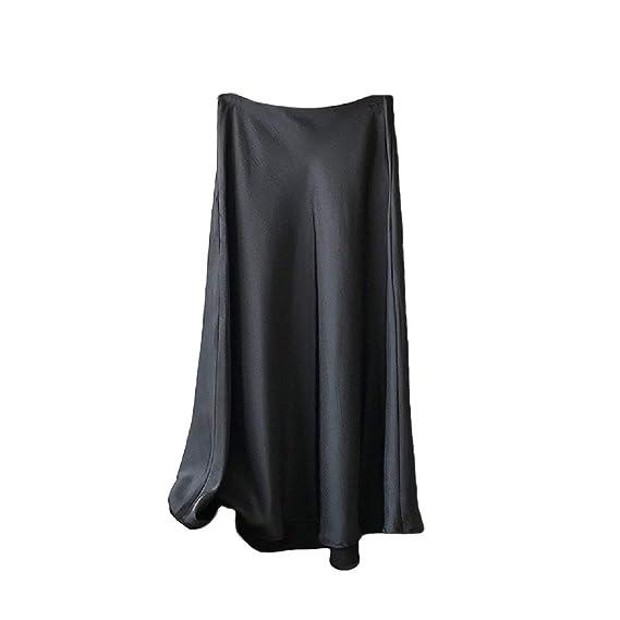 SOWTKSL Falda de Cintura Alta Holgada para Mujer, Satinada, Estilo ...