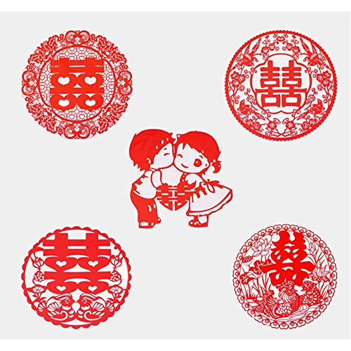 Recommended Good quality Wedding hi Word electrostatic Stickers Wedding Room Decoration Wedding Arrangement hi Word Stickers Glass Cartoon Stickers Window Flower Five Styles [20 Pack]