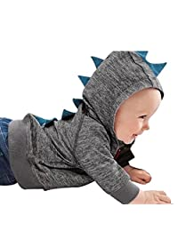 Flank Baby Boy Girl Dinosaur Pattern Hooded Zipper Tops Clothes Coat