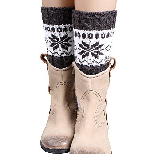 FAYBOX Women Short Knitted Christmas Leg Warmers Socks Boot Cuffs Snowflake DG
