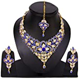 Handmade Women's Amazing Bollywood Kundan Jewelry Cz Partywear Necklace Set Blue