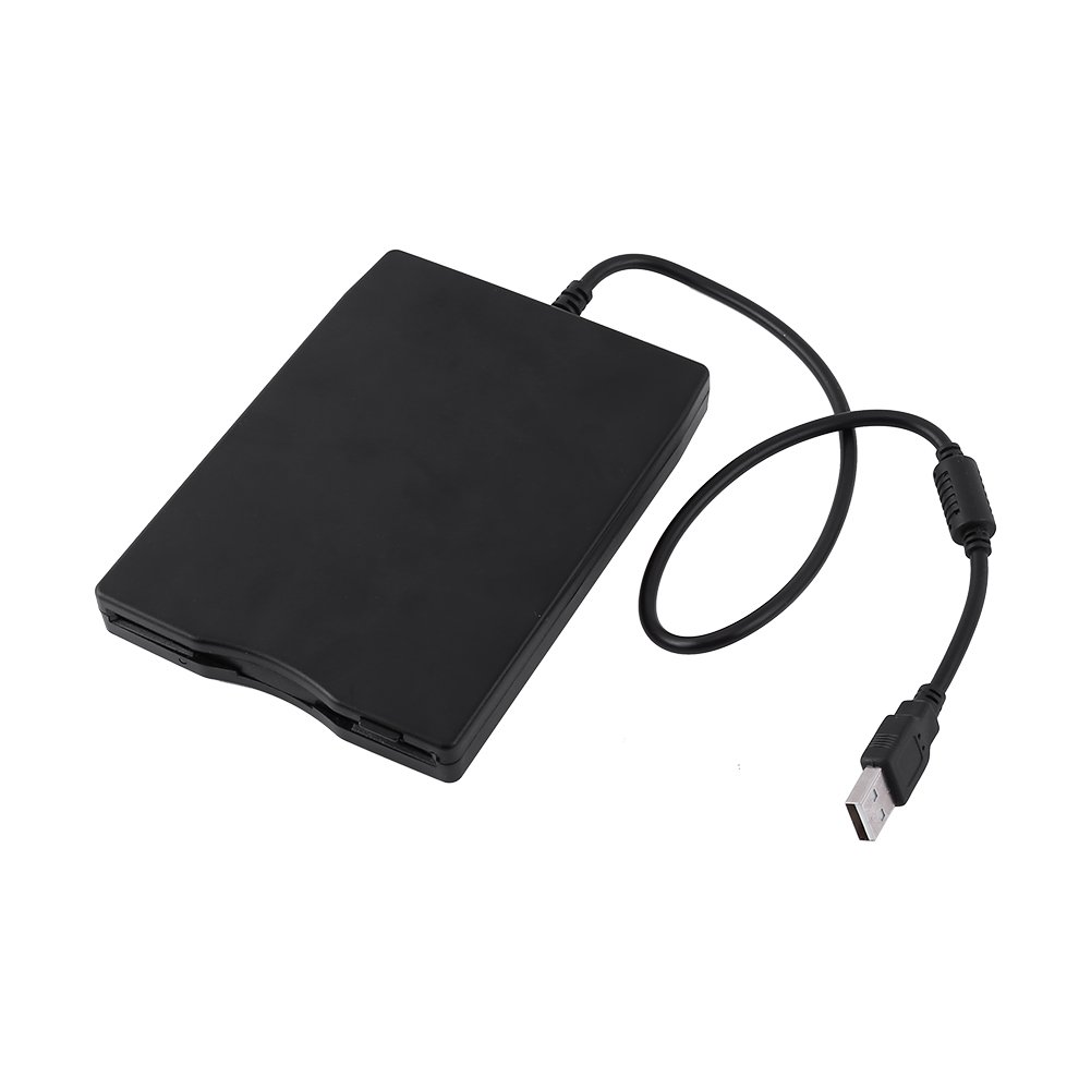 Richer-R USB Floppy Disk, 3.5 inch USB External Floppy Diskette Disk Drive Portable 1.44MB FDD for PC Windows 7/8/98/ME/2000, Windows XP/Mac(Black)
