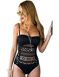 Women's Crochet Lace Halter Straps Swimsuits Bathing Suit US 0-16
