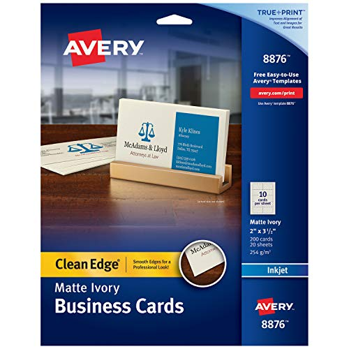 Avery Printable Business Cards, Inkjet Printers, 200 Cards, 2 x 3.5, Clean Edge, Heavyweight, Ivory (8876) ()