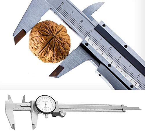 1yess Dial Vernier Caliper,Multi-Functional 0-150mm Stainless Steel Dial Vernier Caliper Ruler Gauge Measure Tool for Measure Outside Diameter Hole Depth(0-150mm 0.01mm)