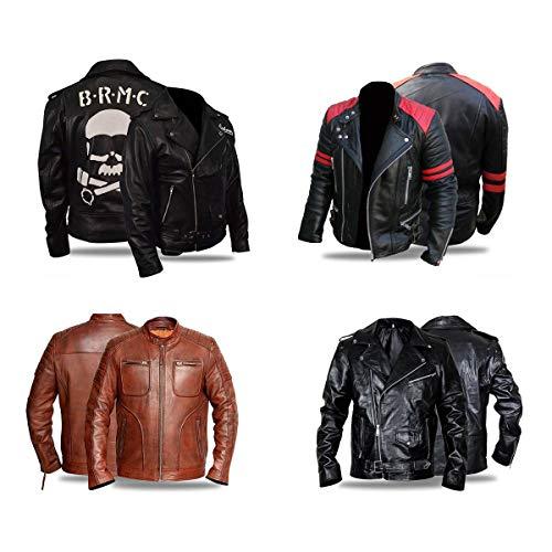 (Distressed Black Cafe Racer Men's Brando Heavy Duty Real Leather Jacket )