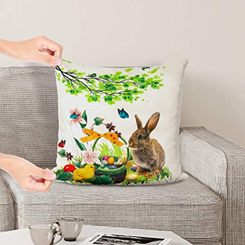 JOHOUSE 4 Pieces Easter Pillowcase, Rabbit Eggs Linen Pillow Cushion Case Easter Bunny Upholstered Sofa Pillowcases, 18 x 18 inch