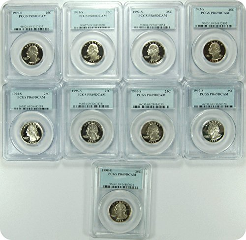 "0 S 1990-98S Date Run of ""9"" PCGS PR69DCAM Washington Quarters Quarter DCAM PCGS PR-69"