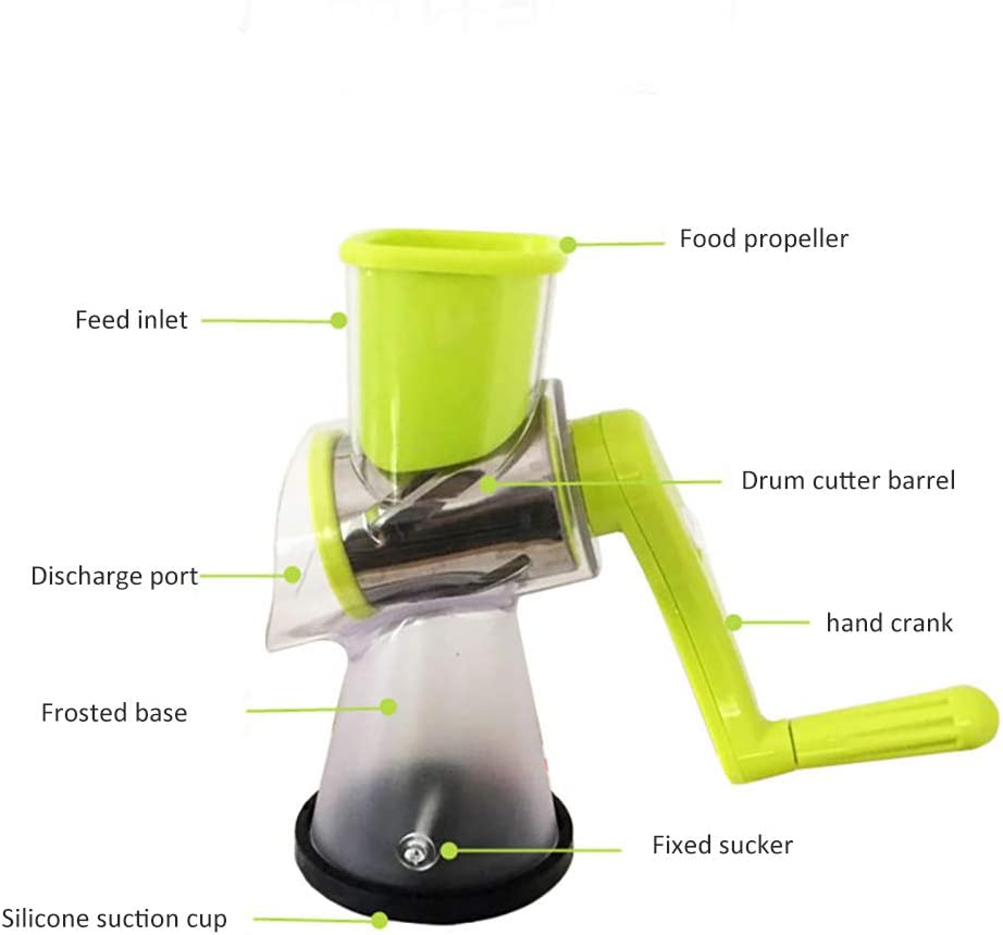 Dogggy Manual Roller Vegetable Slicer Rotary Cheese Grater Shredder Chopper Round Tumbling Box Mandoline Slicer Nut Grinder for Vegetable Hash Brown Potato with Strong Suction Base
