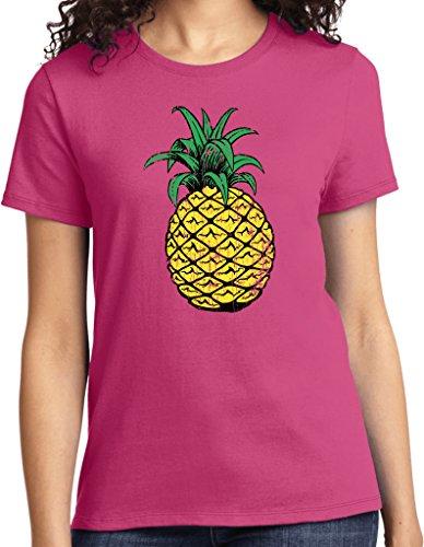 Ladies Distressed Pineapple T-shirt, Sangria, Large