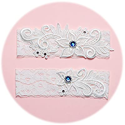 Slocyclub Pure White Lace Bloom Wedding Garter with Royal Blue Crystal
