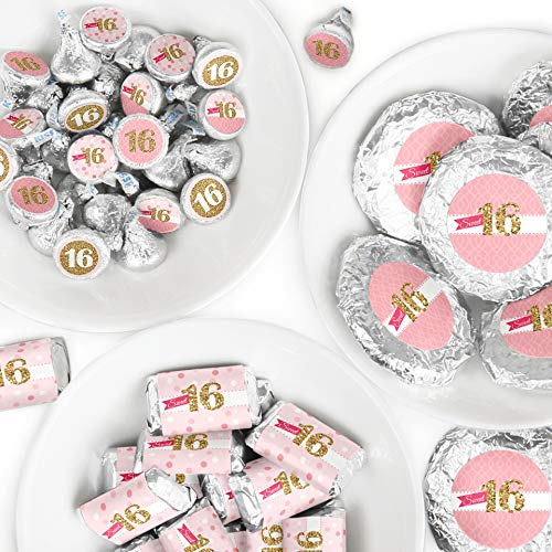 (Sweet 16 - Mini Candy Bar Wrappers, Round Candy Stickers and Circle Stickers - 16th Birthday Party Candy Favor Sticker Kit - 304 Pieces)