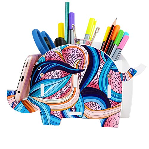 Colorful Elephant Pencil Holder Pen Brush Remote Control Organizer