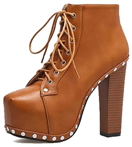 Easemax Womens Trendy Rivets Round Toe Platform High Chunky Heel Lace Up Boots Brown 3Iajey