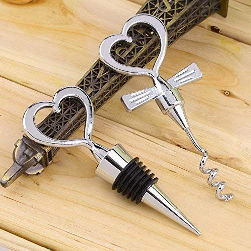 Love Chrome Love Design Heart Shape Wine and Beverage Bottle Stoppers and Corkscrew, Silver