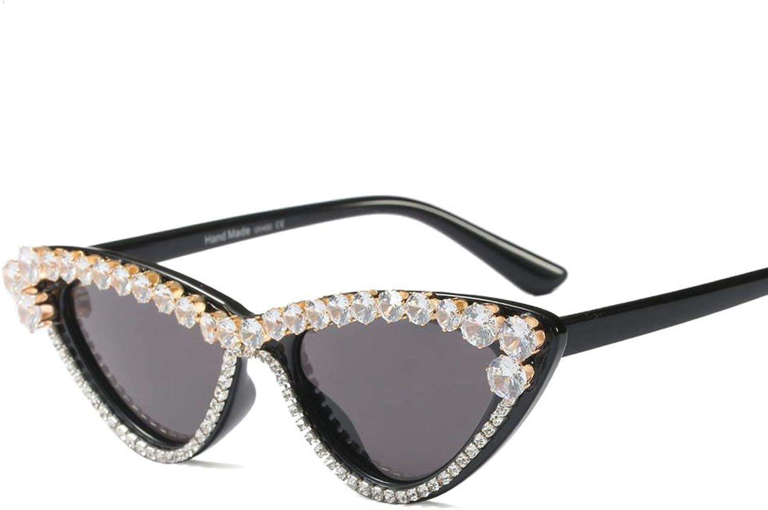 Amazon Com Kachawoo Rhinestone Cat Eye Sunglasses Small Black Luxury Sun Glasses Woman Fashion Black Clothing