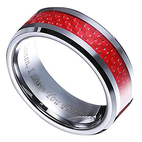 "8mm Tungsten Red Carbon Fiber Inlay Wedding Band Ring Engraved Words ""Listen I Love You (I Love Only You Ring)"